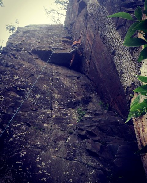 Katie climbing the Inside Corner