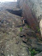Rock Climbing Photo: Katie nearing the roof