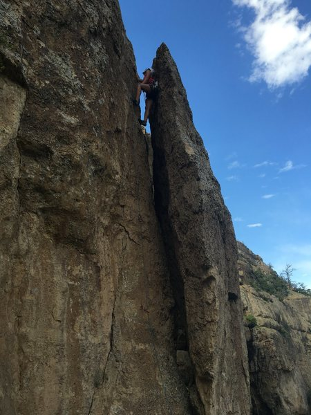 Rock Climbing Photo: On lead on Frogger, 5.8, at Sinks Main Wall