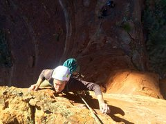 Rock Climbing Photo: Steve powering through the crux on Fifty Foot Spir...