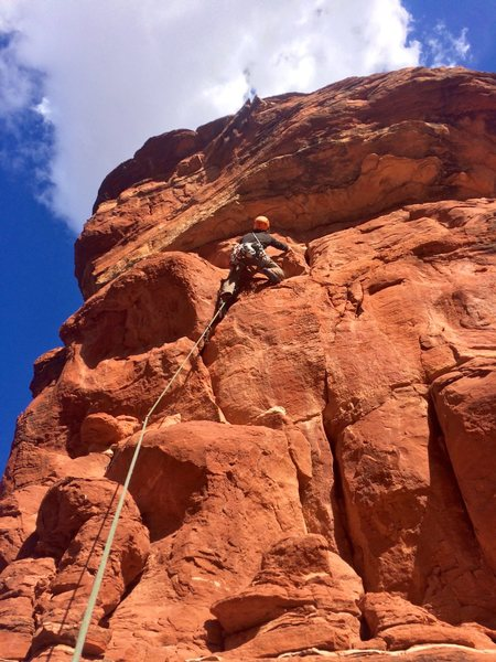 Coming up to the roof on Fifty Foot Spire.