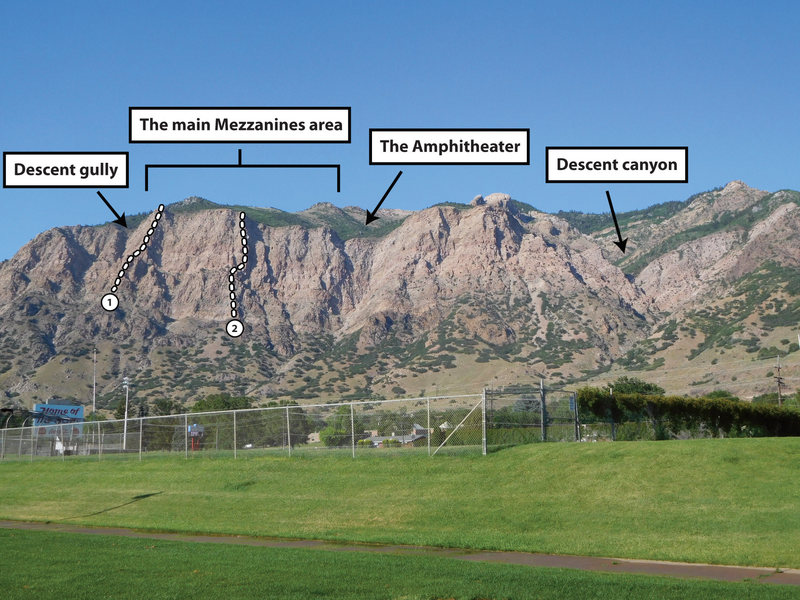 Rock Climbing Photo: Overview of The Mezzanines from Ogden (from Ben Lo...