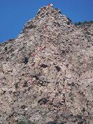 Rock Climbing Photo: Rough topo of the route