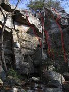 Rock Climbing Photo: Mad Politics (right), Shotty Not (center, with fac...