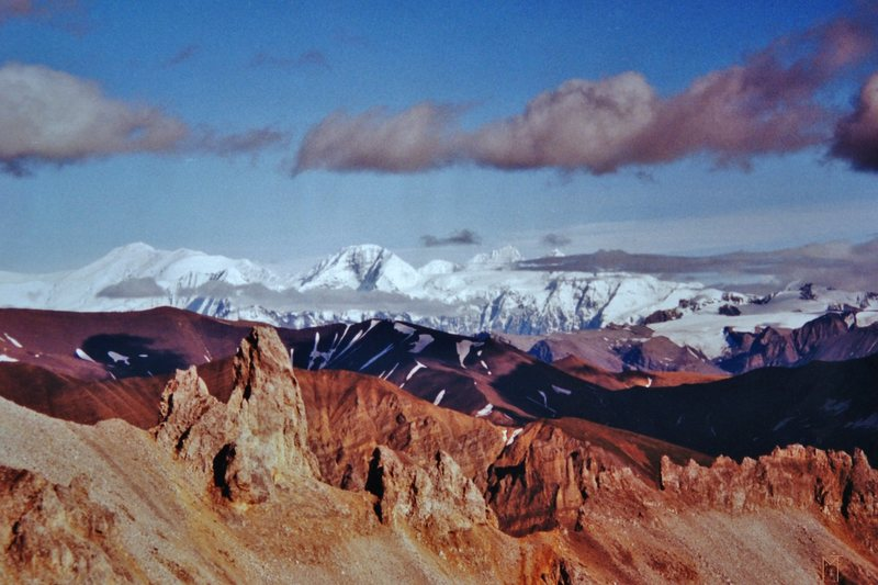 Mt Bona and Mt Churchill in the St. Elias range from Bonanza ridge.