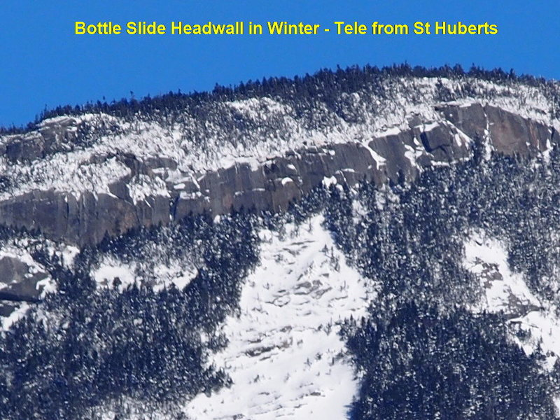 Bottle Slide Headwall in Winter - If I remember correctly, &quot@SEMICOLON@Bottleneck&quot@SEMICOLON@ is a bit right of the apex of the slide.<br>  Looks like &quot@SEMICOLON@lota&quot@SEMICOLON@-climbing here!