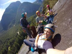 Rock Climbing Photo: 4 party stoke on pitch 5 of Skitz.