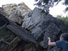 Rock Climbing Photo: Top-rope shows the line up this route.