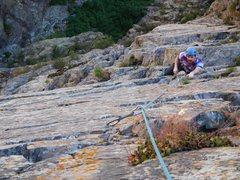 Rock Climbing Photo: Looking down pitch 2