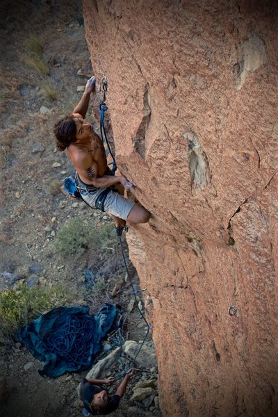 Getting out of the lower half of The Alchemist<br> First Ascent Photo 7/4/16