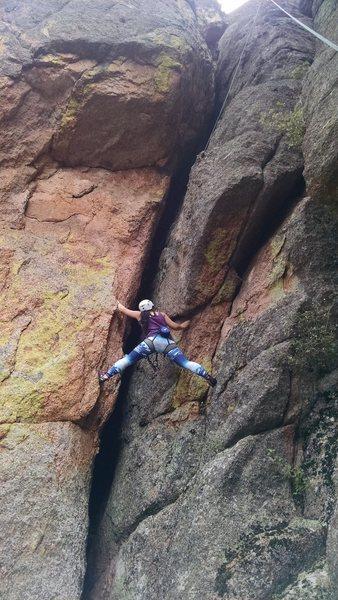 Lena stemming my new sport climb, F Society, 5.8.