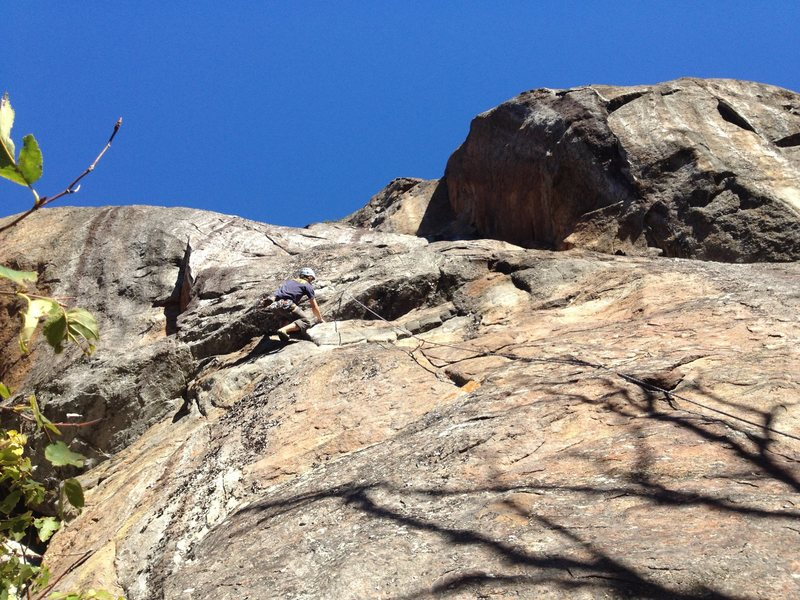 Tom, pulling through the roof section.  Rule of the Bone, Barkeater Cliffs, ADK.