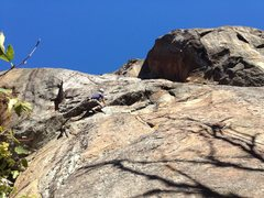 Rock Climbing Photo: Tom, pulling through the roof section.  Rule of th...