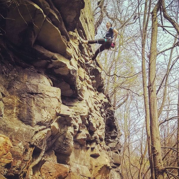 Tia Mroz working the top section.