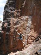 Rock Climbing Photo: Tim moving through the crux.