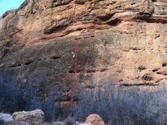 Rock Climbing Photo: Topo of the Unknown route on Clint Eastwood Wall. ...