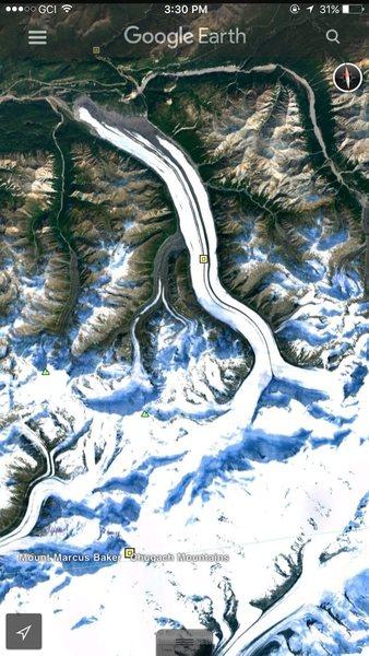 Rock Climbing Photo: Google Maps view of Mt. Baker via Matanuska Glacie...