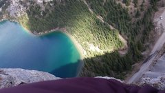 Rock Climbing Photo: New 7 pitches over Emerald Lake called Rags to Ric...