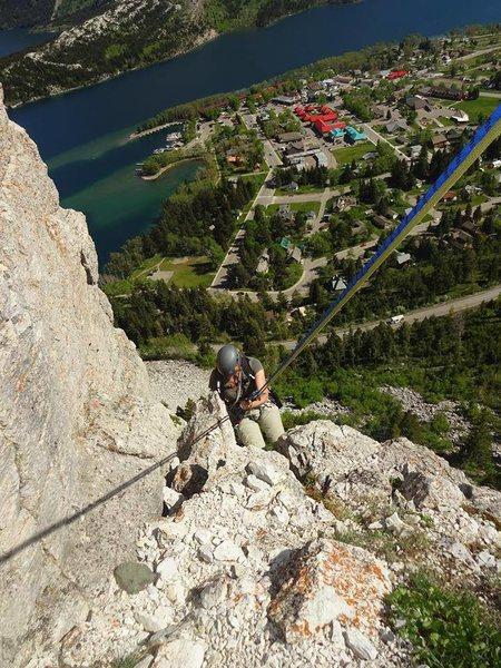 Heading back down. Mainline Trad climb at Waterton Park, Alberta