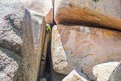 Rock Climbing Photo: One option for top belaying. Lauren climbing.