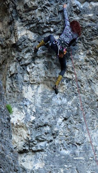 Natasha starting into the steep bit.