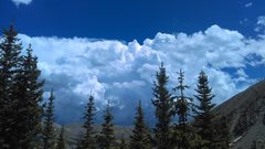 Rock Climbing Photo: Those afternoon thunderheads right on schedule.