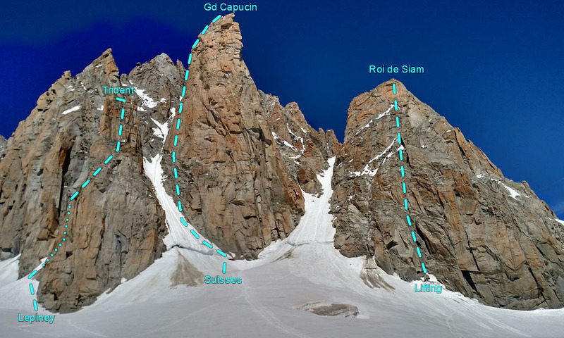 W from Combe Maudit to rock peaks with very rough route lines drawn: <br> * Trident du Tacul (altitude 3639m): Voie Lepiney<br> * Grand Capucin (3838m): Voie des Suisses (with O Sole Mio finish)<br> * Roi de Siam (3693m): Lifting du Roi