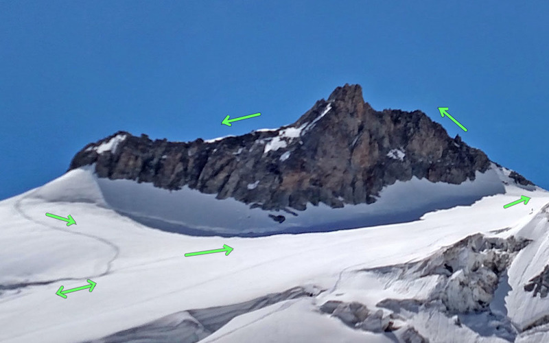 Aiguille d'Entreves (3600m) from NW, traverse frpm SW to NE
