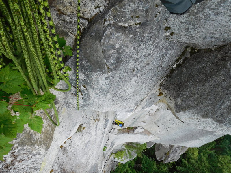 Pitch 2, steep unrelenting moves. I almost peeled off the final ledge pull as loose dirt, rocks and rotten stump was releasing.