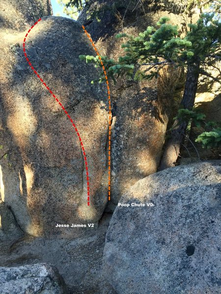Rock Climbing Photo: West Wall right topo