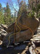 Rock Climbing Photo: Mike's Boulder north face topo