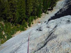 Rock Climbing Photo: Bill McConchie on 1st pitch, Bull Dozier