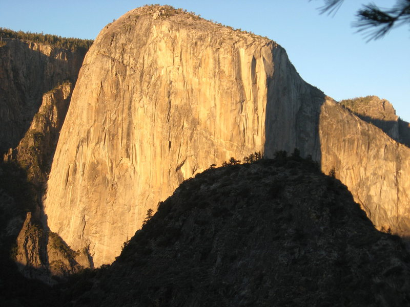 Sunset light on El Cap from Leaning Tower