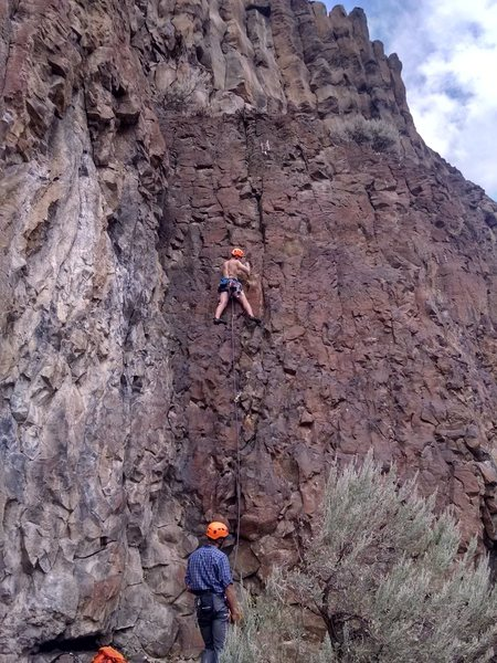 Logan doing his first trad lead on Big Black Hen!