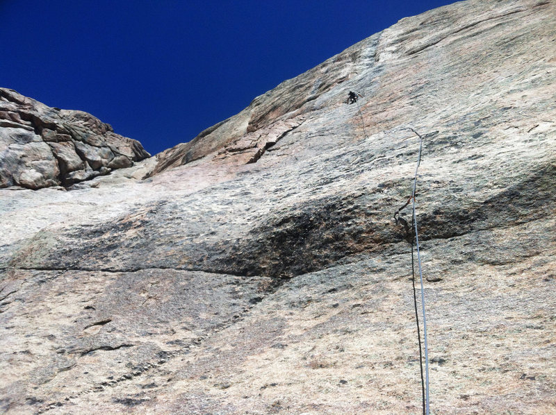 "Up p2.. next to the ""chopped up pinnacle"" pretty closely bolted... compared to the upper pitches."