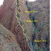 """Route """"une arrête dans la gorge, 12pitchs, 5.9 max."""