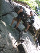 Rock Climbing Photo: Rappeling down practice wall with brother