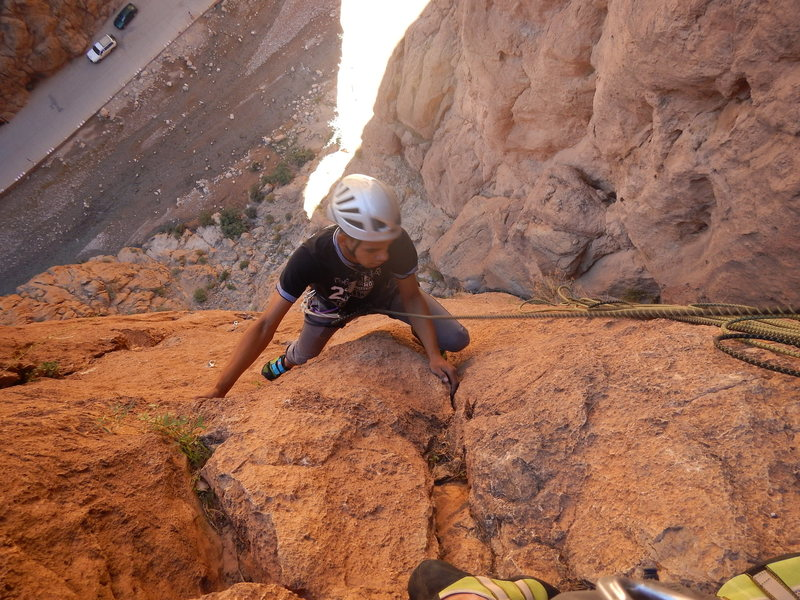 Climbing in Morocco  Escalade au Maroc<br> Guidebook climbing in Todra gorges <br>  Abert route, Pilier du couchant