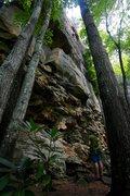 Rock Climbing Photo: Climber cruising through better movement just belo...