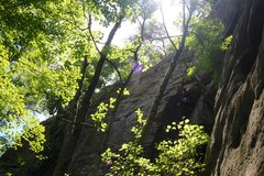 Rock Climbing Photo: Climber pulling over the larger, but easier roof.
