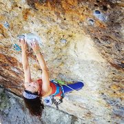 Rock Climbing Photo: Carolena Chang leading Pow! Right in the Kisser