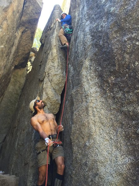 Brent leading this route.  Little did he know there is no gear at the top.