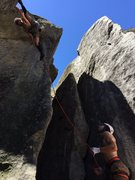 Stemming past the crux of the bat crack.