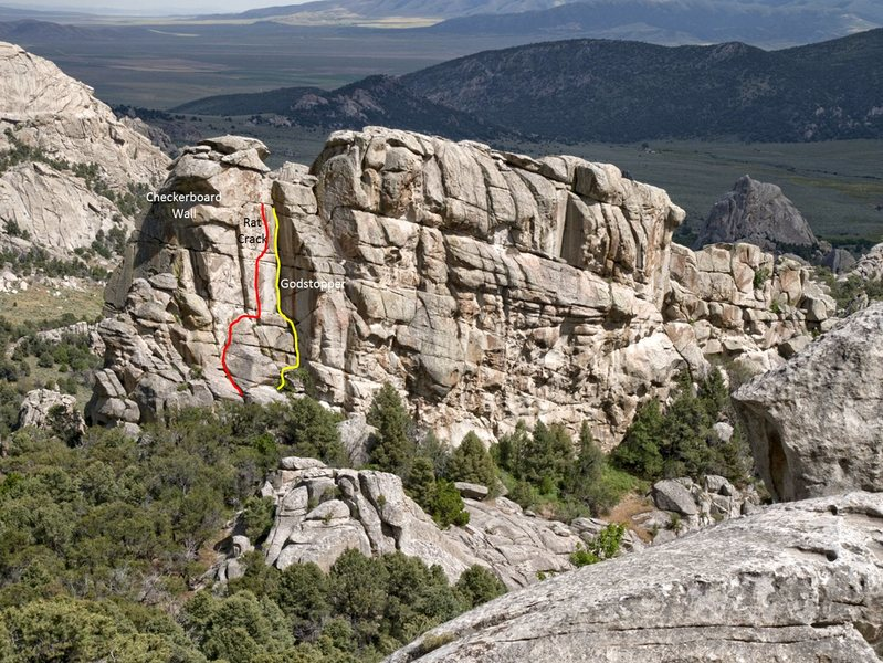 Rock Climbing Photo: Beta photo with North Tower routes shown