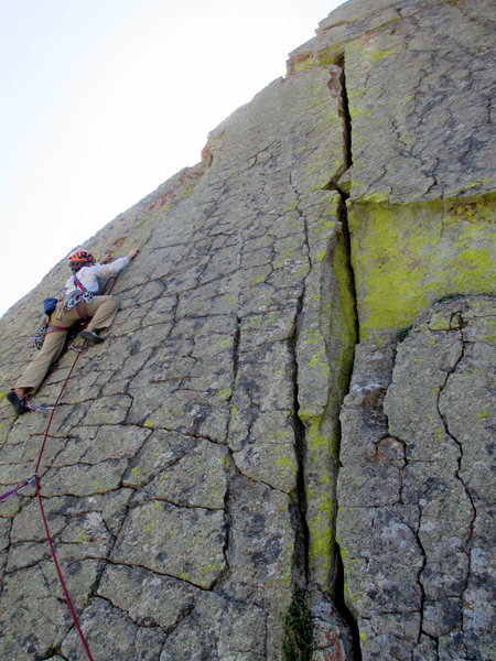 Rock Climbing Photo: Near the end of the crux on Left, with Center crac...