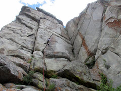 Rock Climbing Photo: Heather Hayes on the opening section of God-Stoppe...