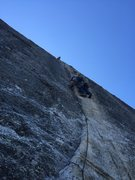 Rock Climbing Photo: Leader after pulling the crux and getting more gea...
