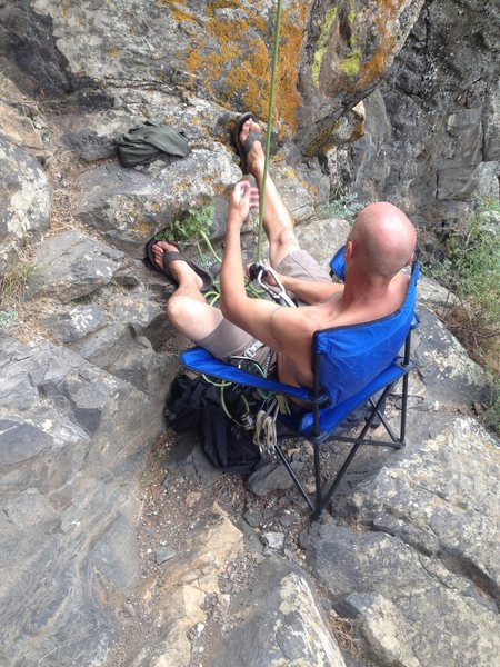 The best stance to belay from.