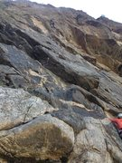 Rock Climbing Photo: High on the 1st part of the route.