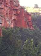 Rock Climbing Photo: The dark orange face of Lotter's Desire.